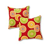 Greendale Home Fashions OC4803S2-FLOWER-RED Outdoor Accent Pillows, Flowers on Red, Set of 2