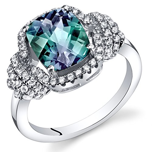 Alexandrite Sterling Silver Designer Ring (Simulated Alexandrite Anti Cushion Cut Ring Sterling Silver 2.75 Carats Size 5)