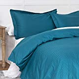 100% Damask Cotton Duvet Cover, Teal Blue Duvet Cover King Size, 400 Thread Count Sateen Weave, Luxury Pinstripe Pattern Royal Hotel Style Bedding, Silky Soft Breathable Durable and Skin Friendly