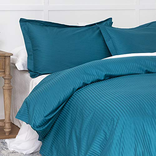 100% Damask Cotton Duvet Cover, Teal Blue Duvet Cover Queen Size, 400 Thread Count Sateen Weave, Luxury Pinstripe Pattern Royal Hotel Style Bedding, Silky Soft Breathable Durable and Skin Friendly (Teal Cover Duvet)