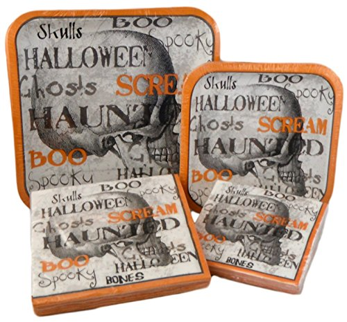 Happy Halloween Square Gothic Skeleton Paper Plates and Napkins Set (Word Cloud Skull) -
