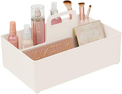 Amazon Com Mdesign Plastic Portable Bathroom Cabinet Storage Organizer Caddy Tote Divided Holder Bin With Handle Holds Cosmetics Eye Cream Makeup Brushes Eyeshadow Palettes Nail Polish Cream Beige Home Kitchen