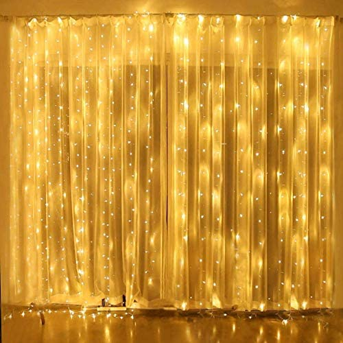 Yinuo Candle 306 LED Window Curtain Lights, 8 Modes Led String Lights Plug in Fairy Light, 9.8 x 9.8 ft Twinkle Lights Decor for Indoor Outdoor Wall Bedroom Party Wedding Patio