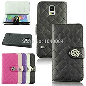 Delicate Luxury Crystal PU Leather Cover String Strap Flip Wallet Hard Case for Samsung S5 i9600
