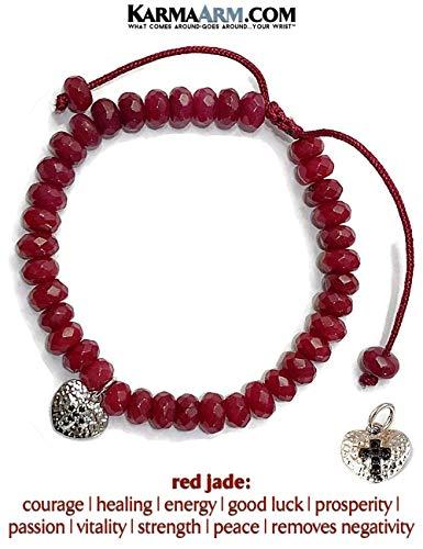 Heart & Cross Charm Bracelet | White Gold | Red Jade Adjustable Reiki Meditation Pull Tie Bracelet, Spiritual Jewelry (Jade Bangles Gold White)