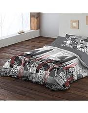 Pierre Cardin - Funda nórdica, bajera y almohadón Nueva York. 135 cm. (220x270) Fácil planchado.