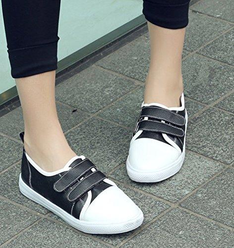 Aisun Noir De Chaussures Tennis Classique Scratch Femme Sneakers rnv0xr