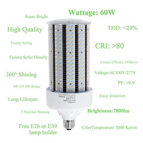 60w led Garage Light,E26 E39 Base led Corn Bulb,5000k Daylight led Replacement incandesce CFL Metal halide hid hps lamp for Indoor Outdoor Garage Yard barn Warehouse Work Shop Gym