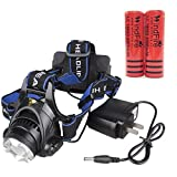 WINDFIRE 1800 Lumens CREE XM-L T6 LED Waterproof 3 Modes Design Zoomable Head LED Torch Flashlight with Charger and 2 x 18650 Rechargeable Batteries for Outdoor Hiking, Riding, Camping