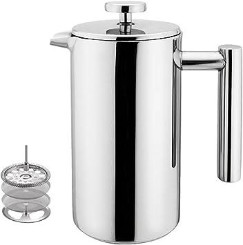 100/350 ml cafetera de émbolo (acero inoxidable doble pared té prensa eléctrica w/cucharilla de café de acero inoxidable: Amazon.es: Hogar