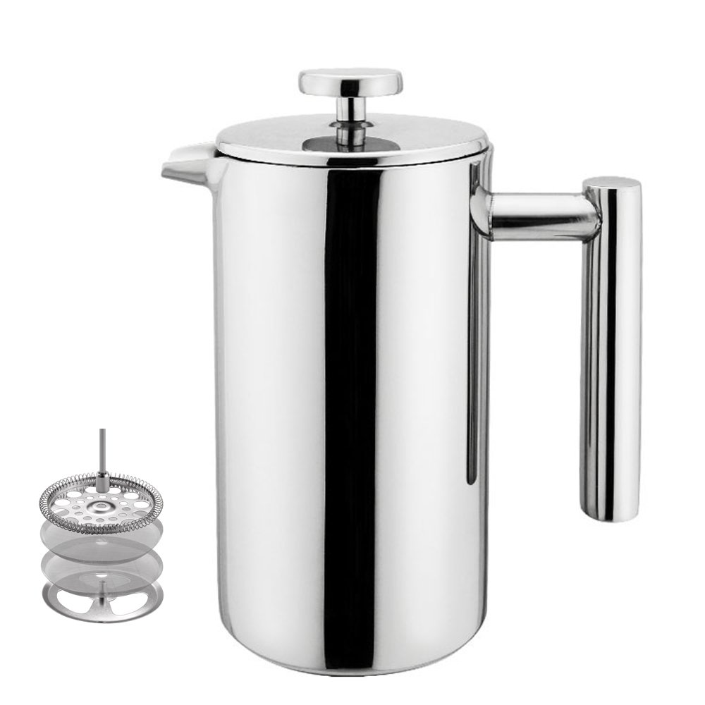 Highwin Small Stainless Steel French Press - 3 cups Double Walled for an Individual Serving