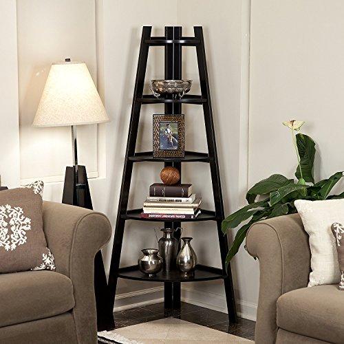 5 Tier Wooden Corner Shelf Book Shelves Flower Stand Rack Storage Organizer Display Shelving Triangular Rack Black