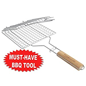 Heat-Resistant Wood Handle - Stainless Steel BBQ Grilling Basket for Roast fish Vegetable Shrimp Fruit Meat Seafood - Best Barbecue Wok Topper Accessories Gift for Men Dad