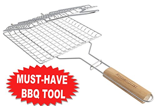 Heat-Resistant Wood Handle - Stainless Steel BBQ Grilling Basket for Roast fish Vegetable Shrimp Fruit Meat Seafood - Best Barbecue Wok Topper Accessories Gift for Men Dad - Stainless Steel Wok Topper
