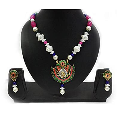 Buy Indian Mores Thewa Kundan Meenakari Pink Green Bird Set with