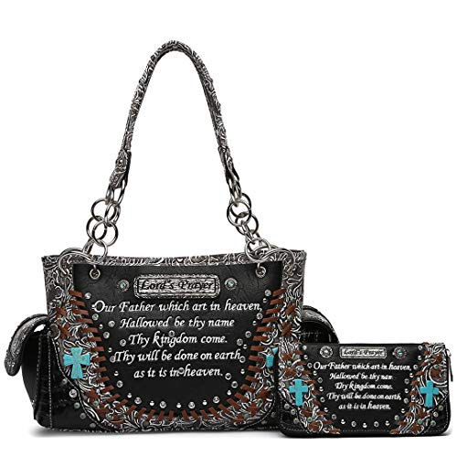 (Embroidered Bible Verse Tooled Leather Concealed Carry Purse Totes Women Handbag Shoulder Bag Wallet Set (Black Set))