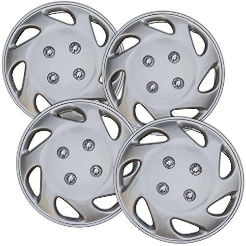 Hub-Caps for Select Honda Civic (Pack of 4) 14 Inch Silver Wheel (1997 Hubcaps)