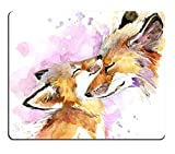 fox mouse pad - Pingpi Portable Mouse Pad Custom,Watercolor Fox and Baby Fox Mouse Pad Personalized Design Non-Slip Rubber Mousepad