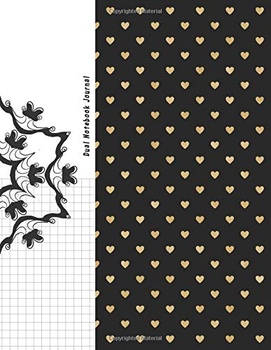"""Dual Notebook Journal: Black Gold Heart Cover Journal Half Graph Paper 4x4 (four squares per inch 0.25"""" x 0.25"""") And Half Blank Paper on the Same ... Graph Grid, and Math Paper notebook Organizer Craig O. Pitt"""