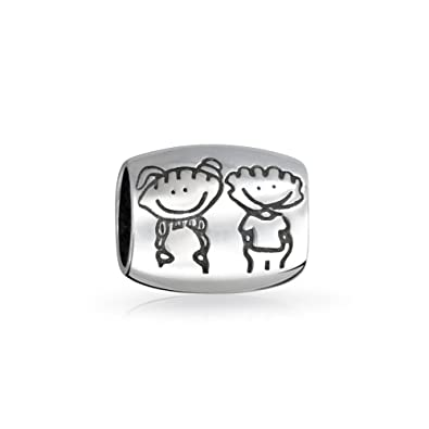 76ffcf99d BFF Happy Friendship Cartoon Family Brother Sister Charm Bead For Women  Teen 925 Sterling Silver Fits European Bracelet: Amazon.co.uk: Jewellery