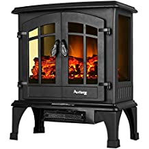 Jasper Portable Electric Fireplace Stove by e-Flame USA (Matte Black) - This 23-inch Tall Freestanding Fireplace Features Heater and Fan Settings with Realistic and Brightly Burning Fire and Logs