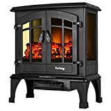 amish electric fireplace heater - Jasper Portable Electric Fireplace Stove by e-Flame USA (Matte Black) - This 23-inch Tall Freestanding Fireplace Features Heater and Fan Settings with Realistic and Brightly Burning Fire and Logs