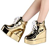 Getmorebeauty Womens Gold Chunky High Platform Wedge Heel Lace Up Chelsea Punk Ladies Ankle Boots 9 B(m) Us | amazon.com
