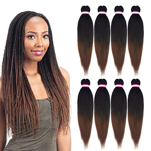 (Liyate EZ Braid Pre-Stretched Professional Braiding Hair Perm Yaki Hair Straight 20 inch 8 packs/lot Crochet Braids Hot Water Setting Synthetic Hair Extensions Low Temperature (#1b/30))