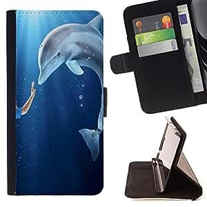 Devil Case- Estilo PU billetera de cuero del soporte del tir¨®n [solapa de cierre] Cubierta FOR Apple Iphone 5C- Dolphins sea