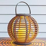 Lights4fun Pebble Grey Solar Powered LED Garden Lantern