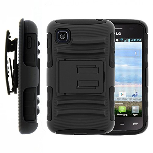 Thousand Eight(TM) For LG Optimus Dynamic II L39C -Hybrid Armor Stand Case With Holster and Locking Belt Clip + [FREE Touch Screen Stylus] (HOLSTER Black) (Lg Optimus Dynamic Ii Cases compare prices)