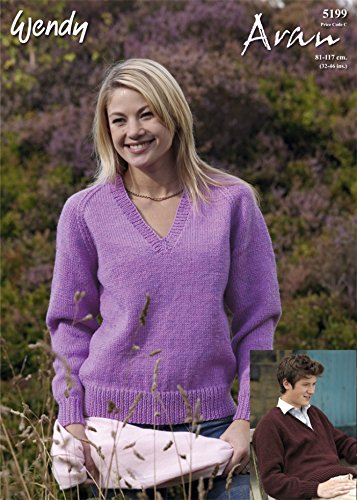 ff258efb0 Wendy Ladies V Neck Sweater Knitting Pattern 5199 Aran  Amazon.co.uk   Kitchen   Home