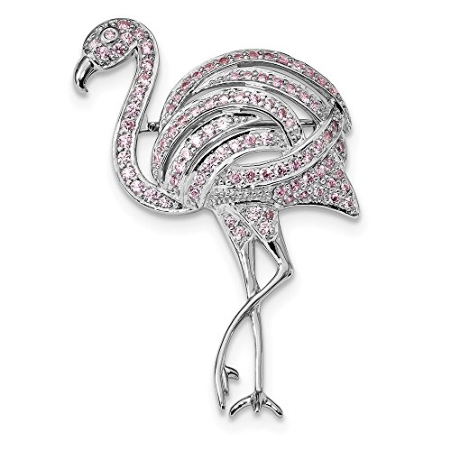 925 Sterling Silver Rhodium-plated Pink Cubic Zirconia Flamingo (Rhodium 925 Sterling Silver Pin)
