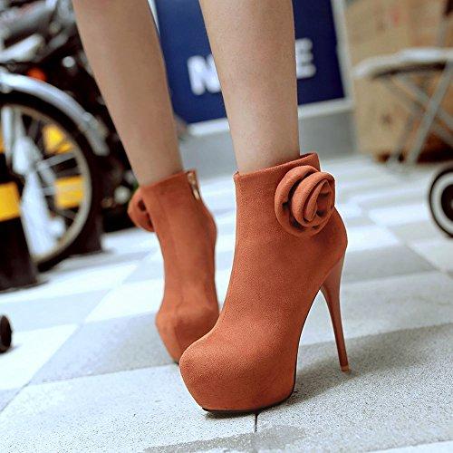 Charm Foot Womens Flower Platform High Heel Ankle Booties Dark Yellow VKuY9HD