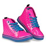 [D9506-PNK-3] Pink High Top Sneakers: PU Lace Up Shoes,...
