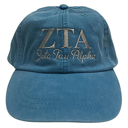 Zeta Tau Alpha ZTA Script Design Bright Blue with Gray Thread Baseball - Lauren Policy Return Ralph