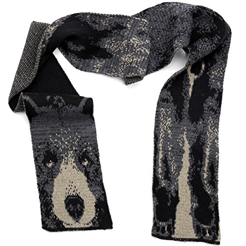 Green 3 Fashion Sweater Wild Animal Knit Scarf (Black/Grey Bear) - Womens Recycled Cotton Fashion Scarf, Made in The USA (One Size)