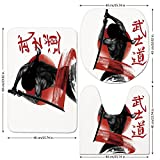 3 Piece Bathroom Mat Set,Japanese,A-Samurai-with-Weapon-on-Japanese-Flag-Backdrop-Asian-Hieroglyph-Illustration,Red-Black-White.jpg,Bath Mat,Bathroom Carpet Rug,Non-Slip