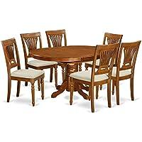 East West Furniture AVPL7-SBR-C 7-Piece Dining Table Set