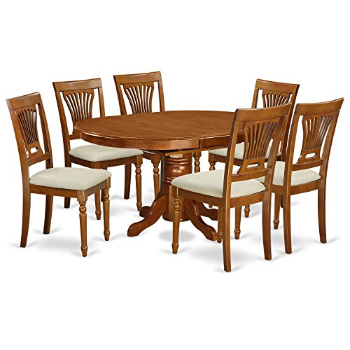 East West Furniture AVPL7-SBR-C 7-Piece Dining Table Set For Sale