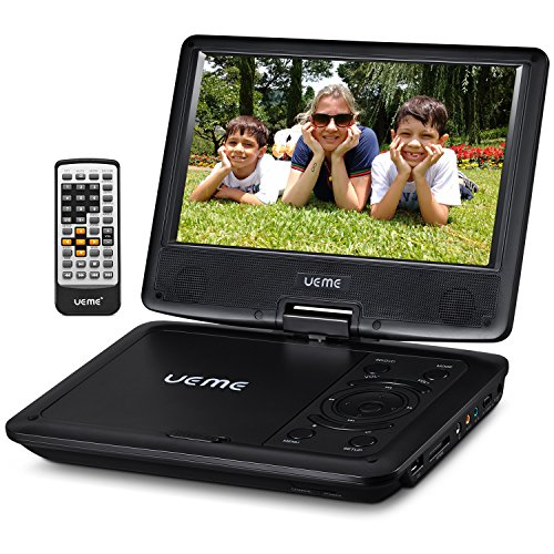 UEME 9'' Portable DVD Player CD Player with Car Headrest Mount Holder | Swivel Screen | Remote Control | Rechargeable Battery | AC Adapter | Car Charger, Personal DVD Player (Black) by UEME