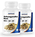 Nutricost Ashwagandha Herbal Supplement 600mg, 120 Capsules - Healthy Stress Response (2 Bottles)