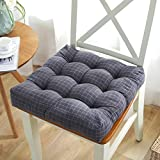 W&lx Square Floor Pillow Cushion,Cotton Linen Cushion Boosted Thicken 9cm Tufted Padded Chair mat Balcony Windowsill Seat Cushioning Backrest for Home Office-Dark Gray 43x43cm(17x17inch)