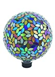 Russco III GD137159 Glass Gazing Ball, 10'', Mosaic Peacock