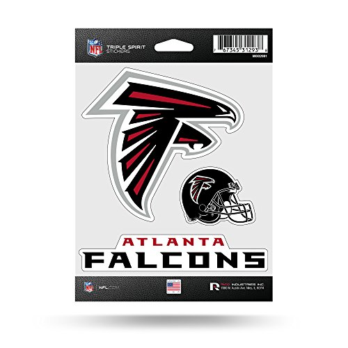 NFL Atlanta Falcons  Triple Spirit Stickers, Black, Red, White, 3 Team Stickers Falcon Stickers