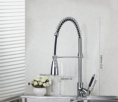 U-Enjoy Shivers Chrome Swivel Top Quality Kitcehn Faucet Water Way Spout Kitchen Pull Out Down Brass Sink Mixer Tap (Free Shipping)