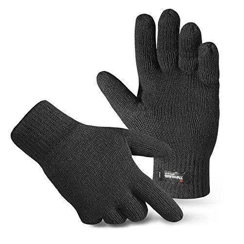 Herren Thermo Strick-Handschuhe Thinsulate Schwarz L/XL