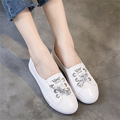 Da Basse Scarpe Ginnastica In Shoes White Pin Da On Little Scarpe Scarpe Pigro Casual Fall Piatte Bocca Shoes Womens's Superficiale Donna New Slip Pelle 36 A qxwTaBX7U