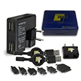 RWT Tech-USB Charger Travel Kit with 1 amp Universal Dual USB Charger,2 Universal Charging cables,European Plug Adapter and 6 Charging Tips for iPhone™,Android™,Blackberry™,Windows™ Smartphones,Cell Phones,iPods™,Headsets and other Devices.
