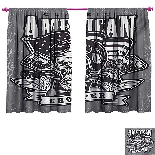 Skull Decor Curtains by Classical American Vintage Style Motorcycle Racer Cruising on Road Illustration Print Room Darkening Wide Curtains W72 x L63 Grey White